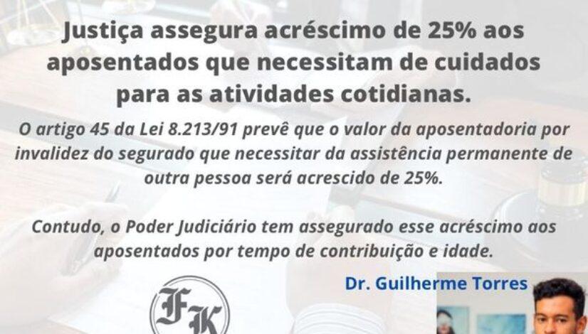 Justiça assegura acréscimo de 25% aos aposentados que necessitam de cuidados para as atividades cotidianas