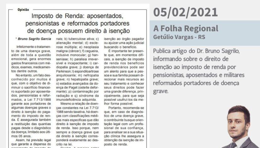 Na imprensa - Jornal A folha regional - 05022021